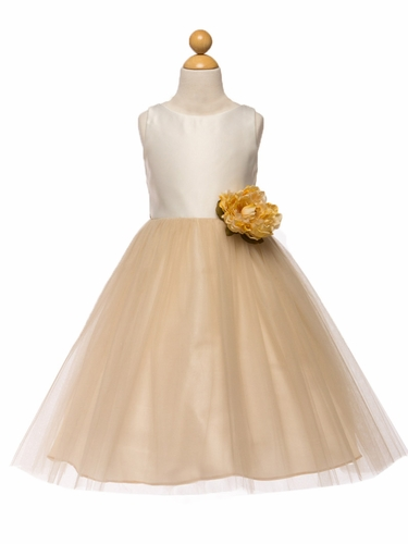 White/Champagne Satin & Tulle Dress w/ Flower