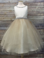 Ivory/ Champagne Satin & Tulle Dress w/ Gem Neckline & Belt