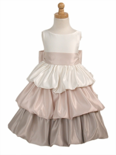 Ivory/Champagne Tri-Color Layered Satin Bubble Dress