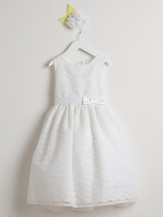 Ivory Chevron Organza Dress