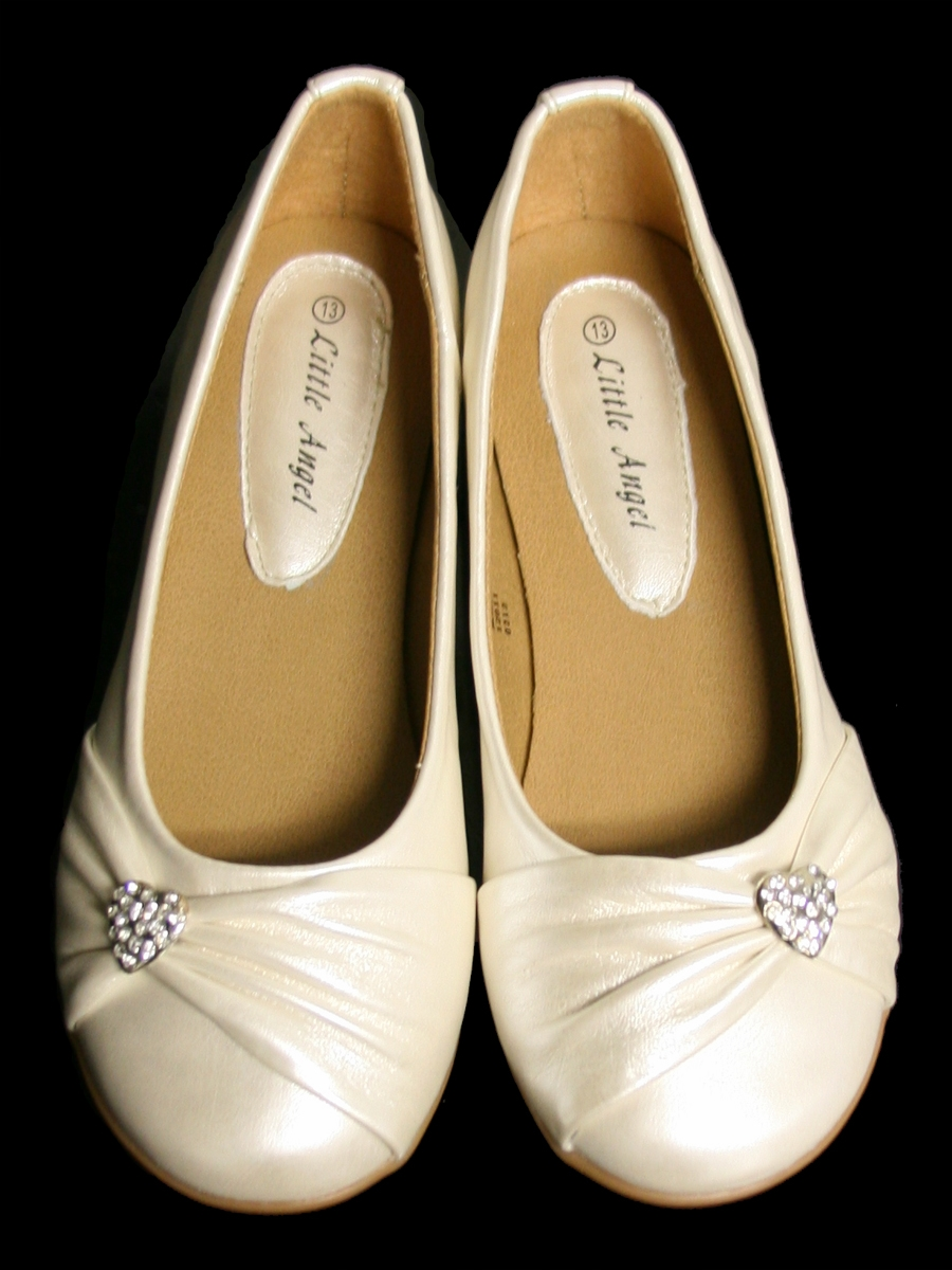 1b87b188d363 ... Girl s Dress Shoes   Flower Girl Shoes   Ivory Childrens Flat Shoes w   Rhinestone Heart. Click to Enlarge Click to Enlarge ...