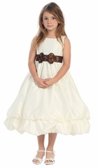 Ivory/Chocolate Two Layer Bubble Dress w/Decorative Sash