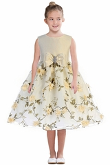 Ivory Crayon Kids 365 Floral Skirt w/ Bow & Brooch Dress