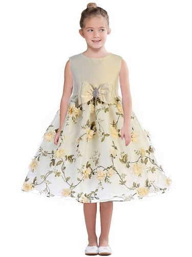 Crayon Kids 365 Ivory Floral Skirt w/ Bow & Brooch Dress