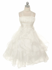 Ivory Crystal Pleated Multi-Layered Petal Dress