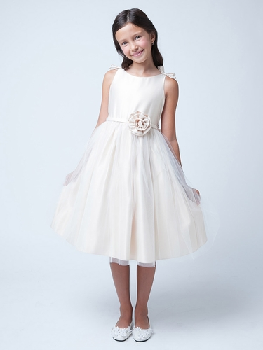 Ivory Double Bow Satin & Tulle Dress