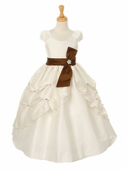 CLEARANCE - Ivory Dupioni Dress w/ Rhinestone Pinched Front Split Skirt & Detachable Sash