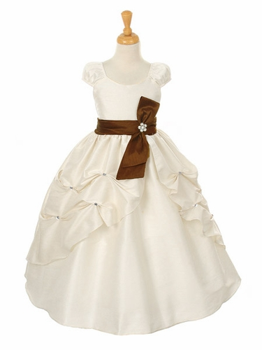 Ivory Dupioni Dress w/ Rhinestone Pinched Front Split Skirt & Detachable Sash