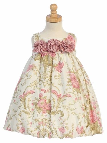 Ivory/ Dusty Rose Taffeta Floral Sleeveless Rosette Bubble Dress