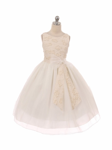 Ivory Embroidered Floral Bodice w/ Mesh Skirt & Bow