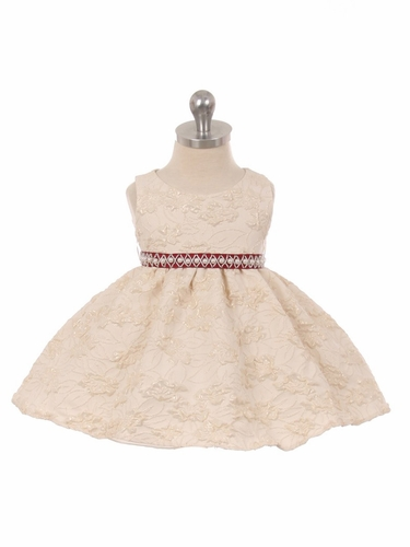 Ivory Embroidered Floral Infant Dress w/ Pearl Waistband