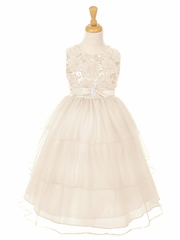 Ivory Embroidered Mesh Flower & Sequins Bodice Dress w/ Layered Sparkle Mesh Skirt