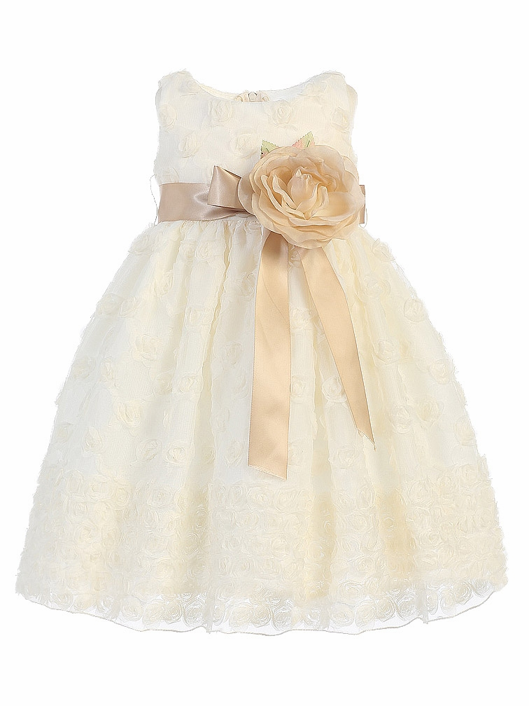 15a2a273facb Blossom Ivory Rosette Embroidered Tulle Dress w  Detachable Flower ...