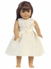 """Ivory Embroidered Tulle Dress w/ Bow 18"""" Doll Dress"""