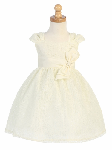Ivory Embroidered Tulle Dress w/ Bow