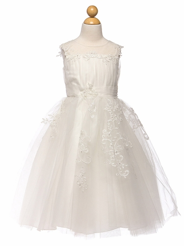 Ivory Embroidered Tulle Dress w/ Illusion Neckline