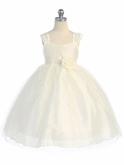 Ivory Empire Waist Tulle Dress w/ Poly Silk Sleeve & Sash