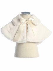 Ivory Faux Fur Collared Cape w/ Ribbon Tie