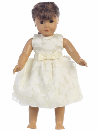 Ivory Floral Burnout Organza 18'' Doll Dress