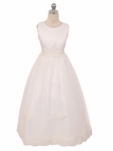 Ivory Floral Lace Soft Tulle Girl Dress