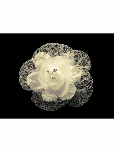 Ivory Floral Mesh Hair Clip