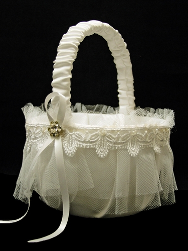 Ivory Flower Girl Basket w/ Lace