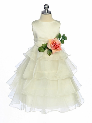 Ivory Flower Girl Dress -  Layered Organza
