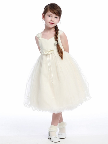 Ivory Flower Girl Dress - Matte Satin Bodice Rose Bud