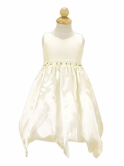 Ivory Flower Girl Dress - Organza Dress w/ Rosebuds
