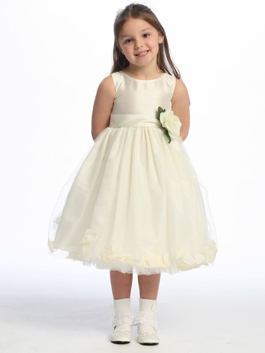 Ivory Flower Girl Dress - Shantung Bodice w/ Tulle Skirt