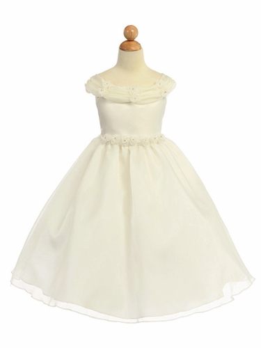 Ivory Flower Girl Dress - Shiny Organza Rosebud Dress