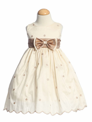 Ivory Flower Girl Dresses - Embroidered Polka-Dot Dress w/ Contrasting Waistband and Removable Bowtie