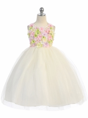 Ivory Flower Patch Tulle Dress