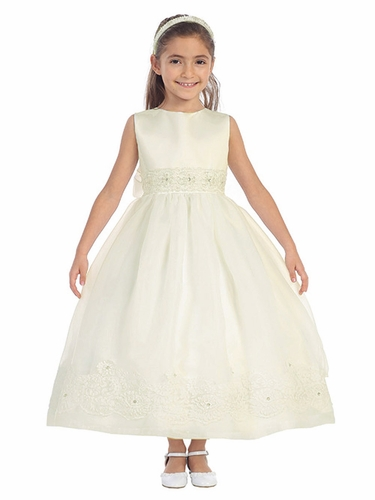 Ivory Full Length Dress w/ Corded Lace Trim & Rhinestone Accent