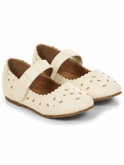 Ivory Geometric Cut Out Mary Jane Flats