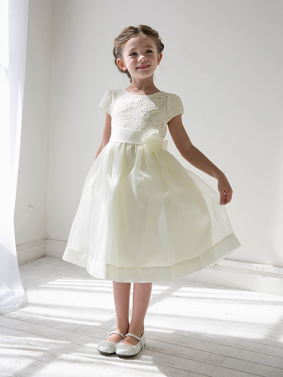 1e3f7a208295 Ivory Girls Floral Lace Bodice Organza Dress