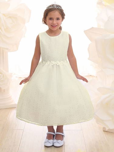 Ivory Glitter Illusion Flower Girl Dress