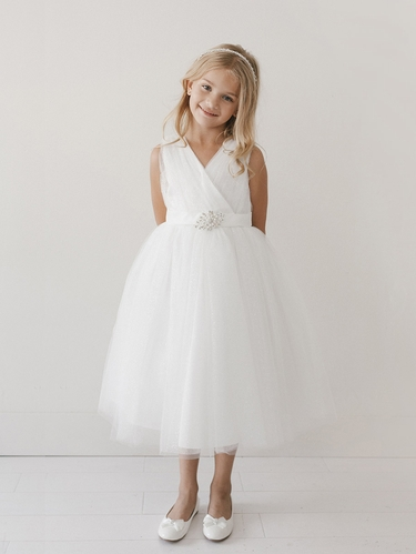Ivory Glitter V Neck Tulle Dress w/ Rhinestone Brooch