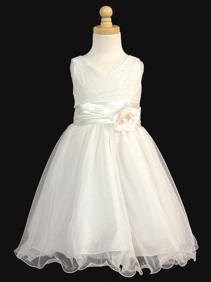 Ivory glittered poly mesh w matching charmeuse waist flower for Matching wedding and flower girl dresses