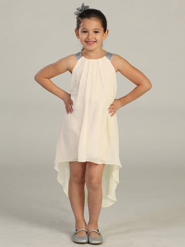 Ivory High-Low Chiffon Dress