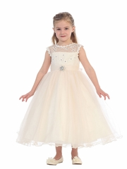 Ivory Illusion Neckline w/ Lace Bodice & Rhinestone Embellished Dress