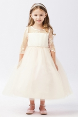 Ivory Illusion Neckline w/ Lace Embellishment 3/4 Sleeve Dress