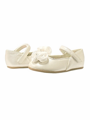 Ivory Infant Shoes with Satin Flowers