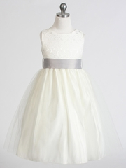 CLEARANCE - Ivory Jacquard Bodice w/ Tulle Skirt & Removable Sash