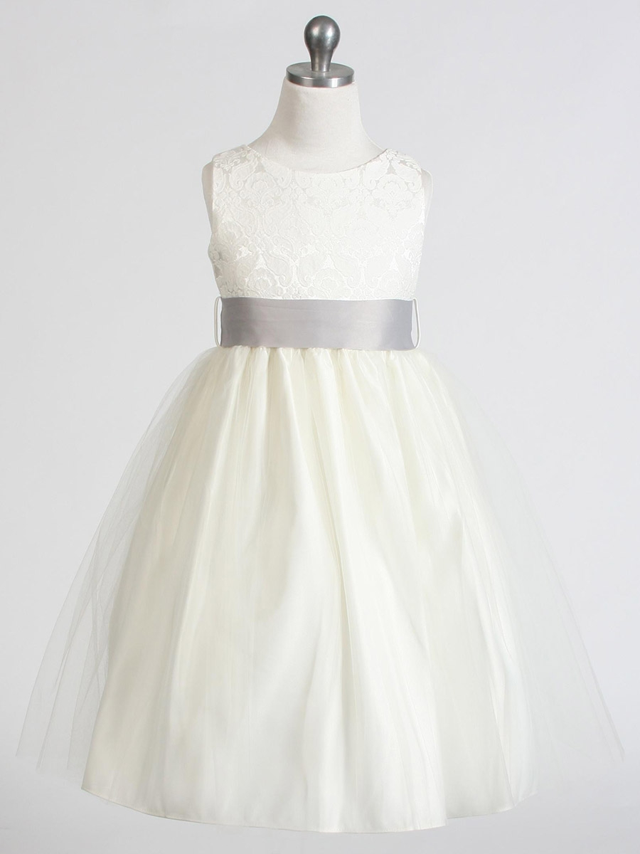 ef0ba23d58a1 ... Flower Girl Dresses > Ivory Jacquard Bodice w/ Tulle Skirt & Removable  Sash. Click to Enlarge ...
