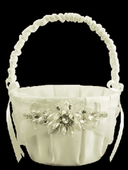 Ivory Jeweled Motif Flower Basket