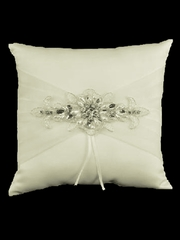 Ivory Jeweled Motif Ring Pillow