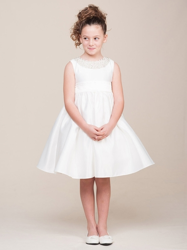 Ivory Jeweled Neckline Dress