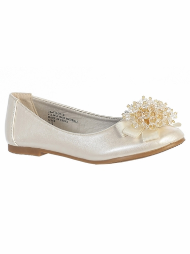 Ivory Kids Flats With Crystal Bead Bow