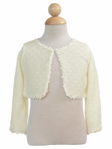 Ivory Knit Sleeve Bolero with Lace Trim
